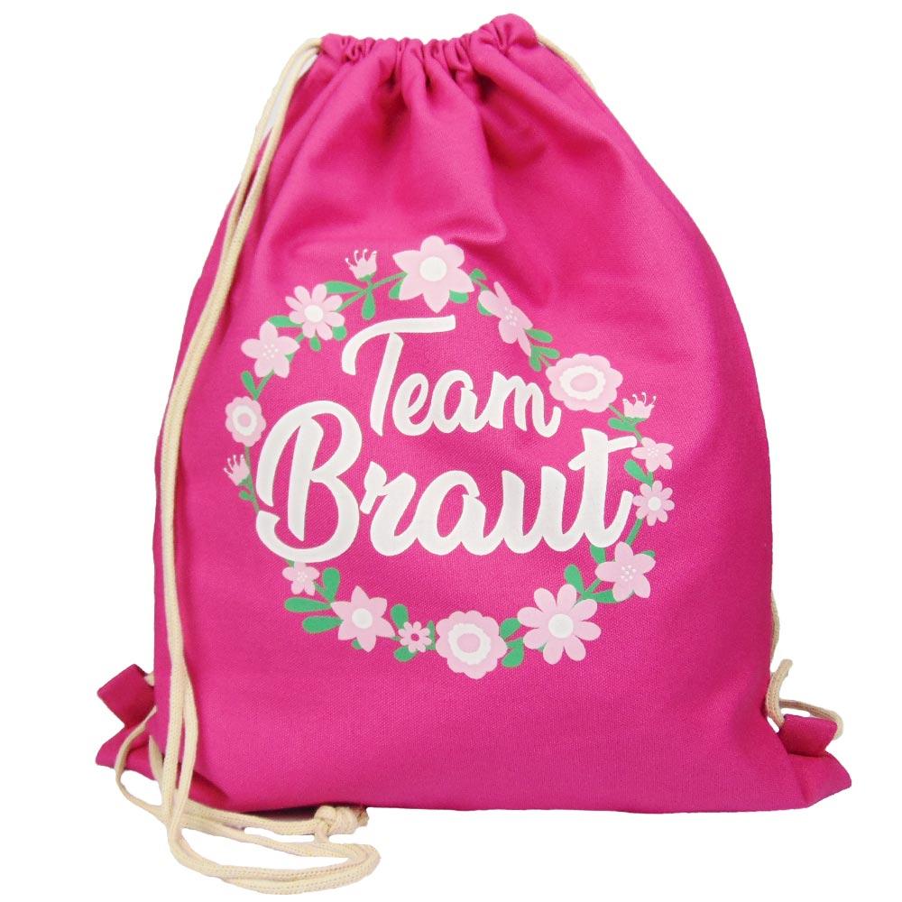 bcbd578defa1b Hübscher JGA Turnbeutel - Team Braut Motiv mit Herzen - Pink
