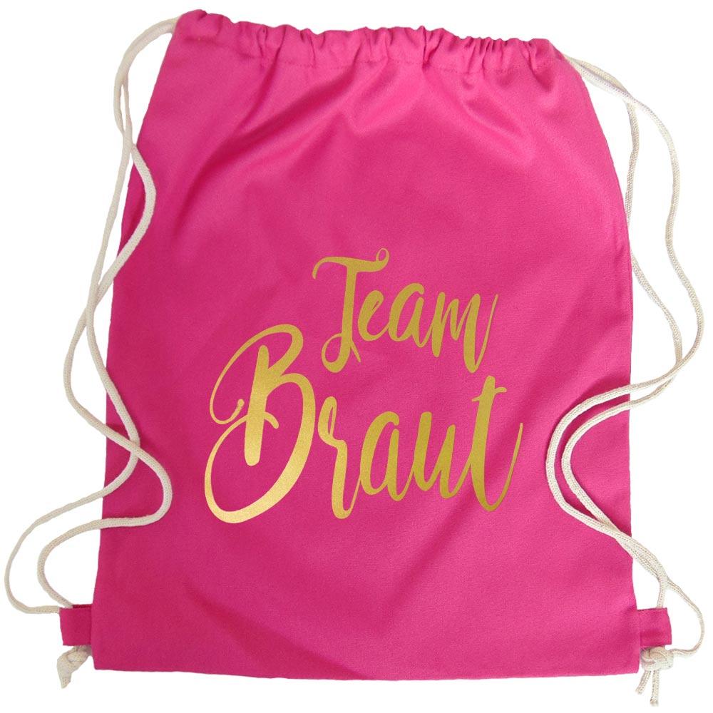 Pinker JGA Turnbeutel mit goldfarbenem Team Braut-Aufdruck
