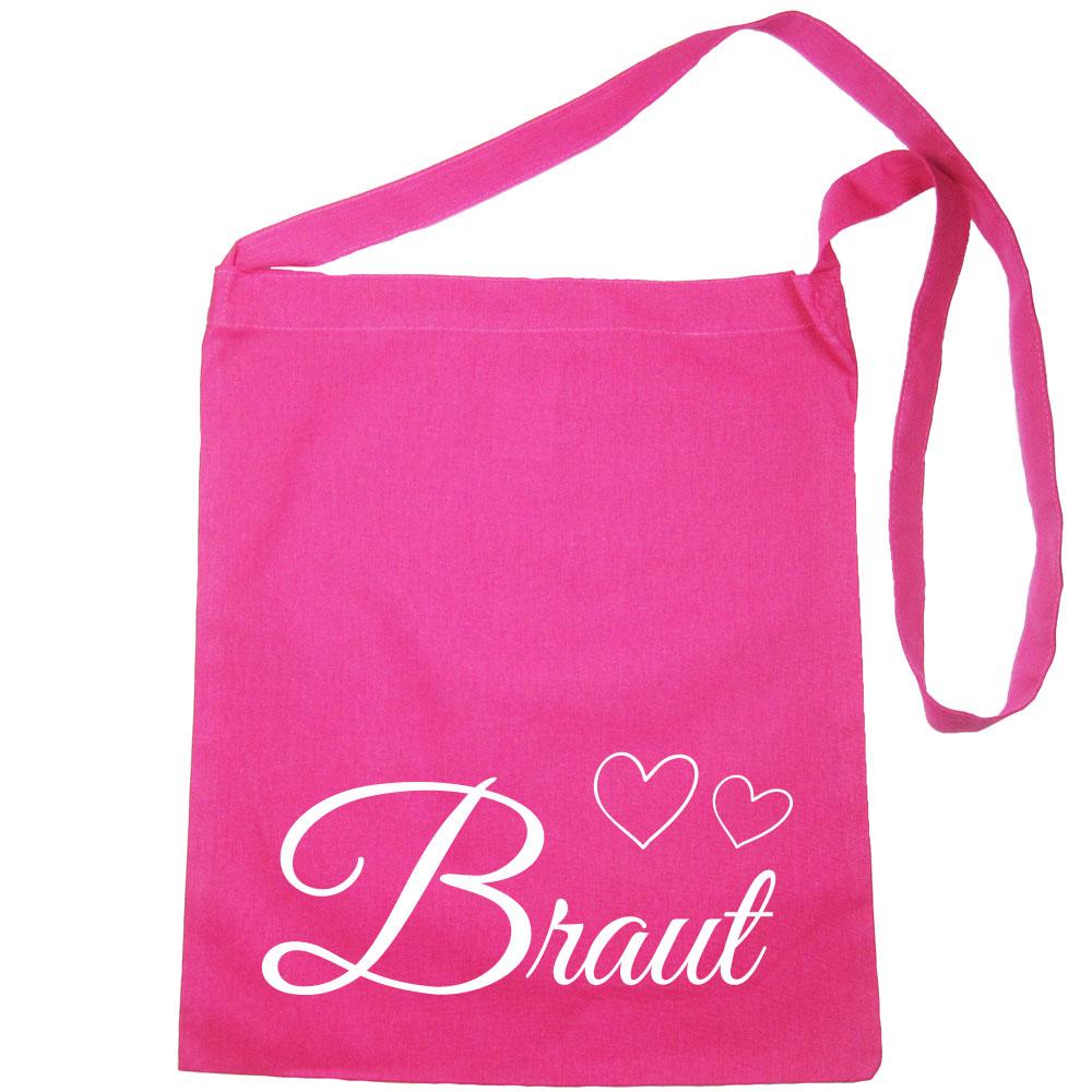 Umhänge-Tasche mit Braut-Schriftzug und Herzen