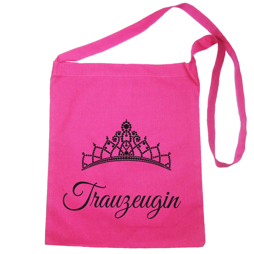 Pinkfarbene Umhängetasche mit Trauzeugin-Schriftzug