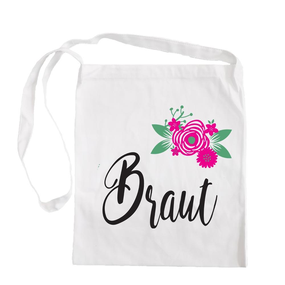 Weisse Umhaengetasche mit Braut-Aufschrift und Blumen-Motiv