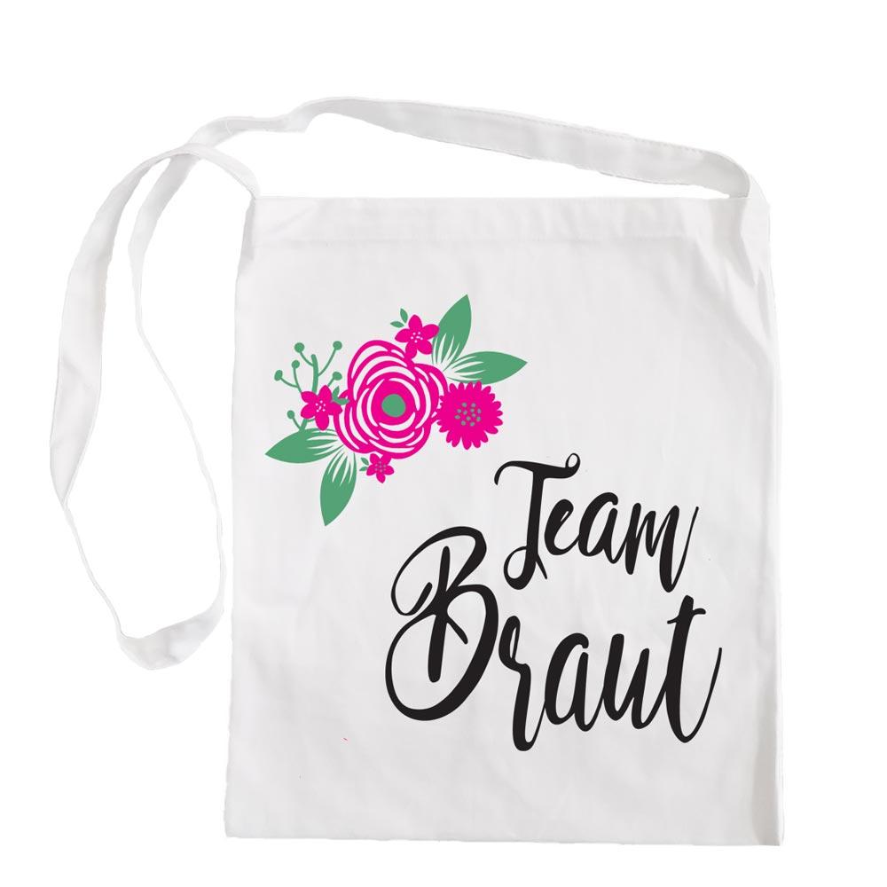 Weisse Umhaengetasche mit Team Braut-Aufschrift und Blumen-Motiv