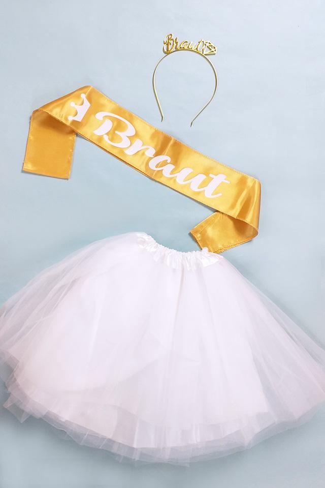 JGA Verkleidung Braut in Weiss-Gold