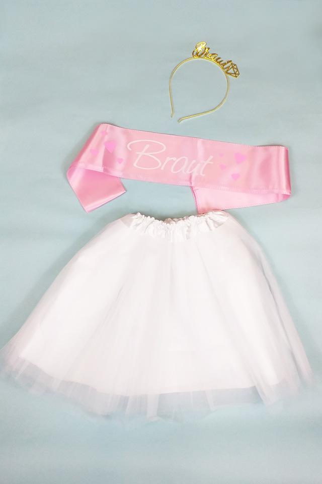 JGA Verkleidung für die Braut in Weiss-Rosa