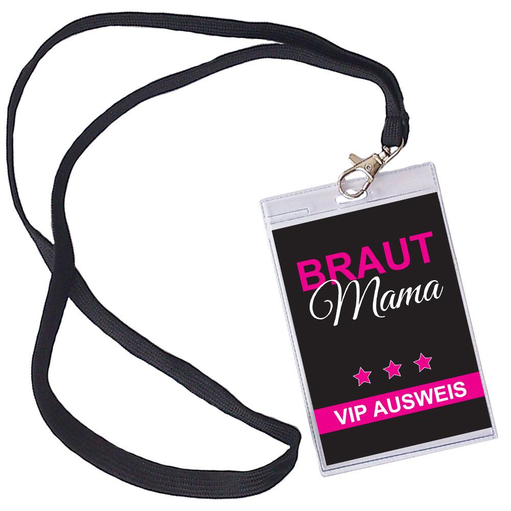 Schwarzer JGA-Brautmutter-Ausweis mit Braut-Mama-Motiv