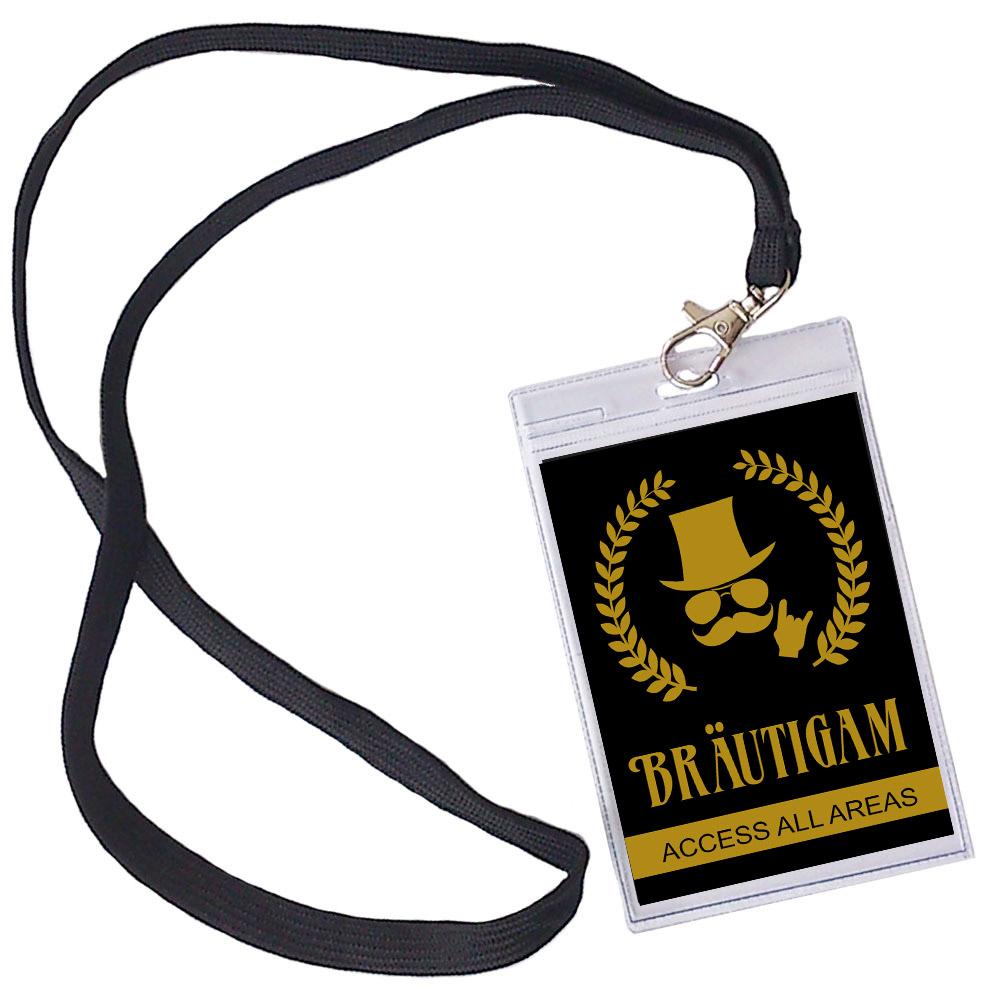 Braeutigam VIP Pass fuer den JGA - Schwarz-Gold,