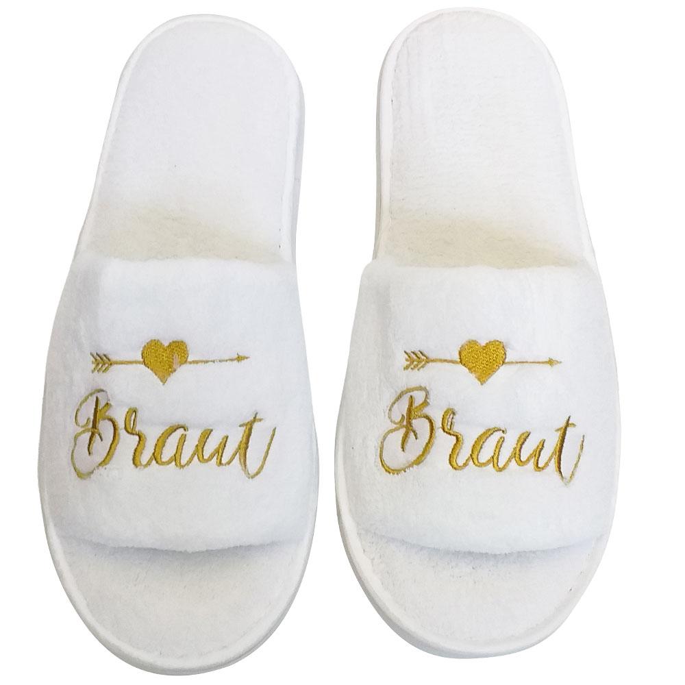 Braut-Slipper in Weiss-Gold für den Wellness-JGA in Spa und Therme