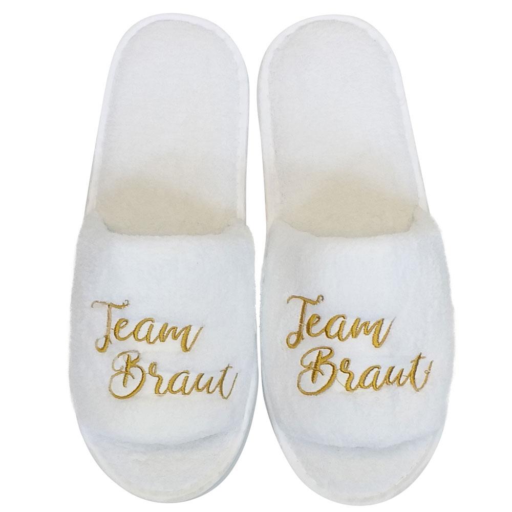 JGA-Wellness-Slipper mit Team Braut-Stick in Weiss-Gold