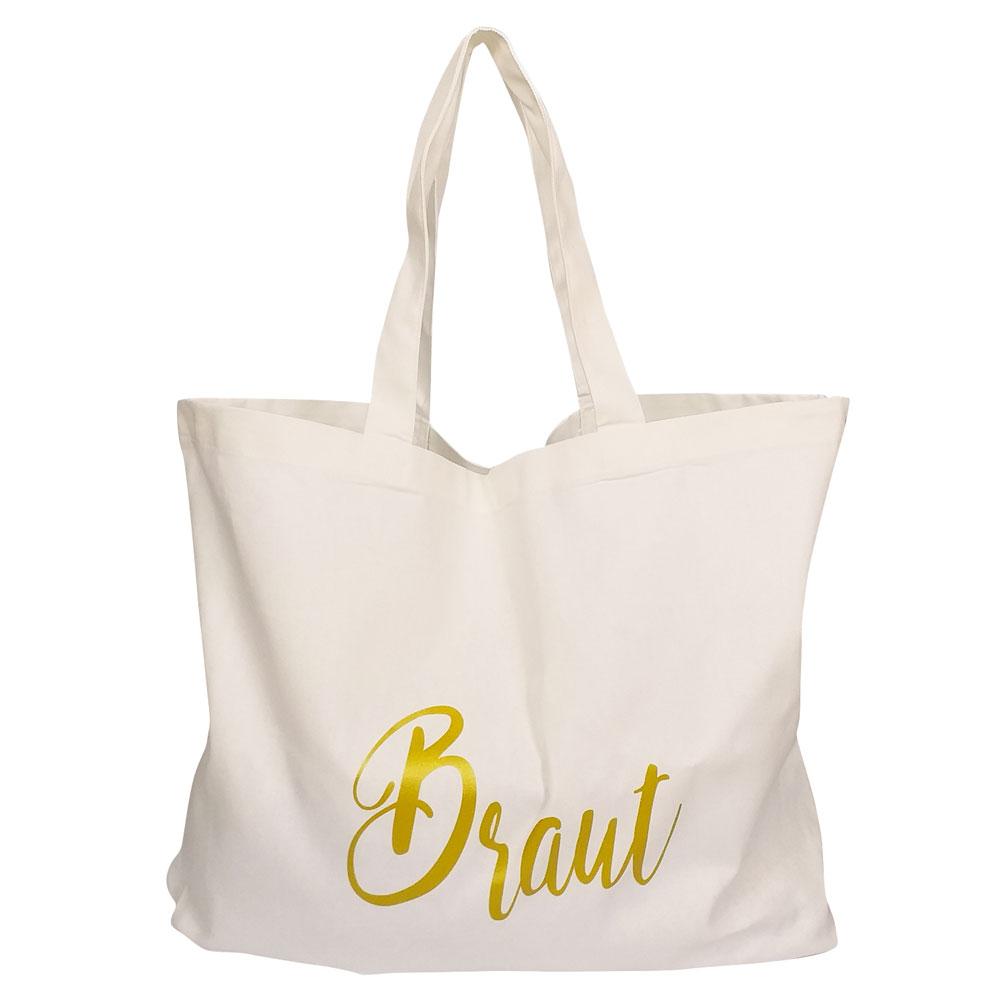 Weisse JGA-Wellness-Tasche mit goldfarbenem Braut-Motiv
