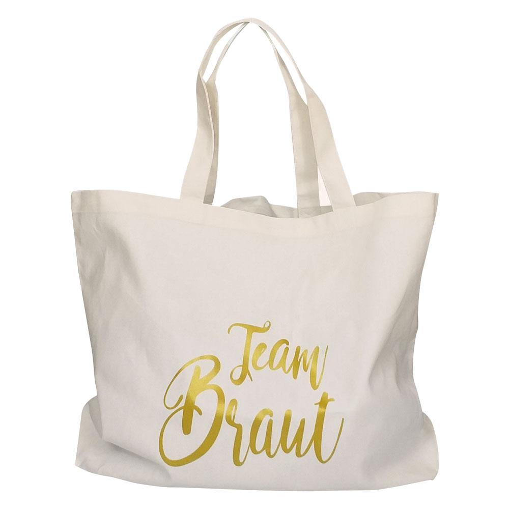 Weisse JGA-Wellness-Tasche mit goldfarbenem Team Braut-Motiv