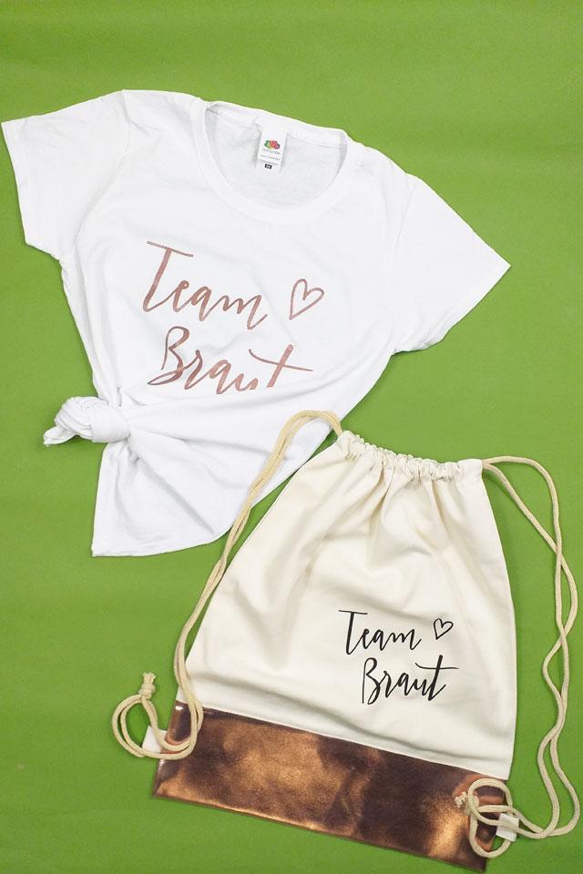 Team Braut - JGA-Outfit-Set in Rosegold mit Shirt und Turnbeutel