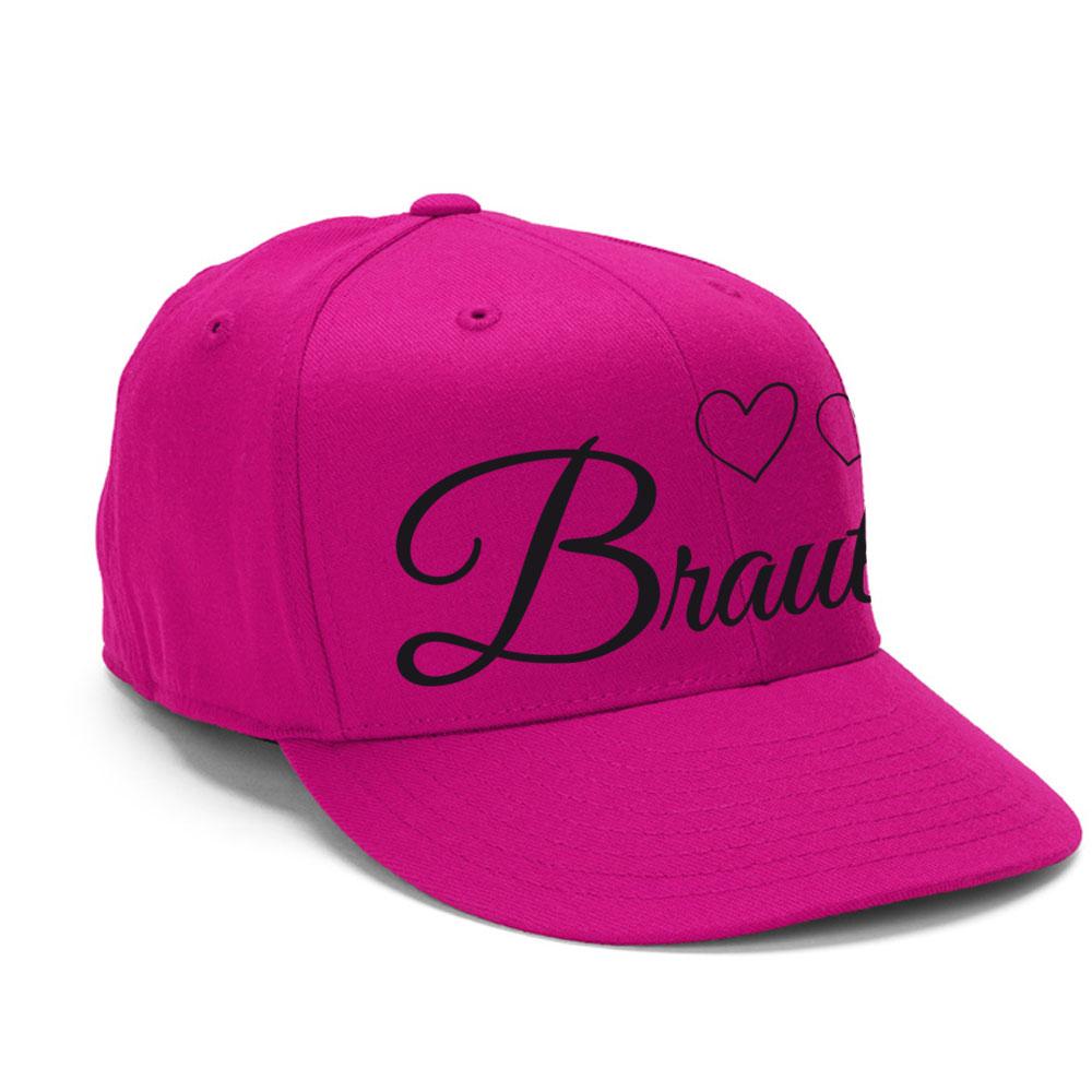 Pinke Junggesellinnenabschied-Cap mit Braut-Motiv und Herzen - seitliche Ansicht