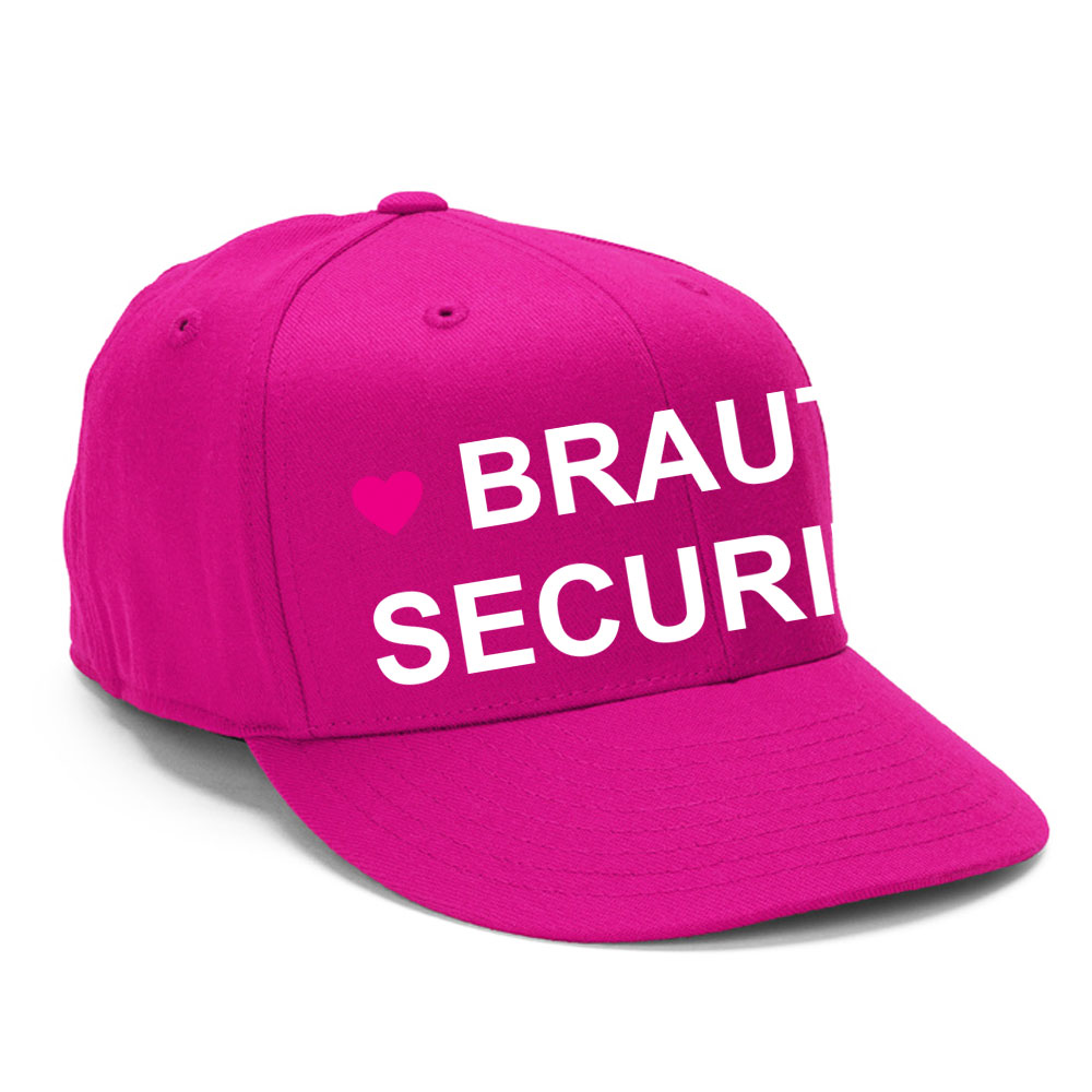 Pinke Junggesellenabschied-Mütze mit Braut-Security-Motiv - seitliche Ansicht