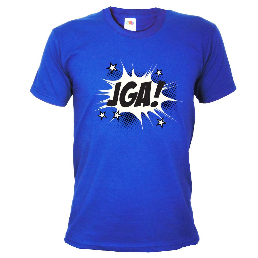 Blaues Herren JGA-Shirt mit Comic-Aufdruck