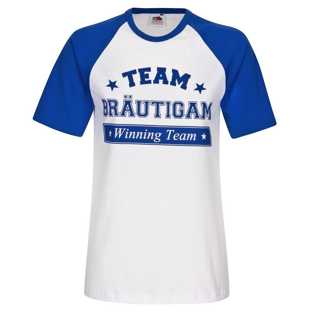 """Blau-weißes Junggesellenabschied-Shirt mit """"Team Bräutigam""""-Motiv"""