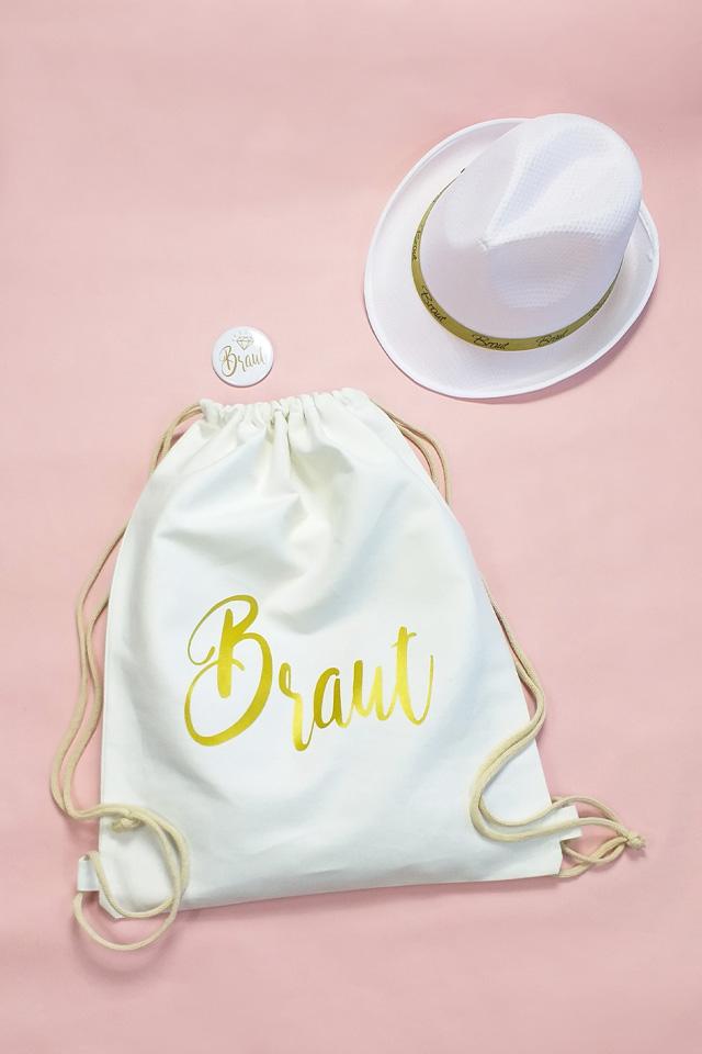 Junggesellinnenabschied-Outfit für die Braut in Weiss-Gold