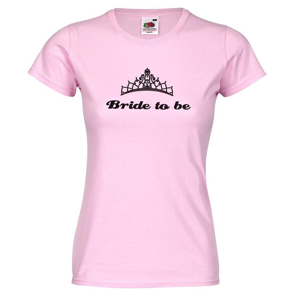 Rosafarbenes Junggesellinnenabschied T-Shirt mit Diadem-Logo