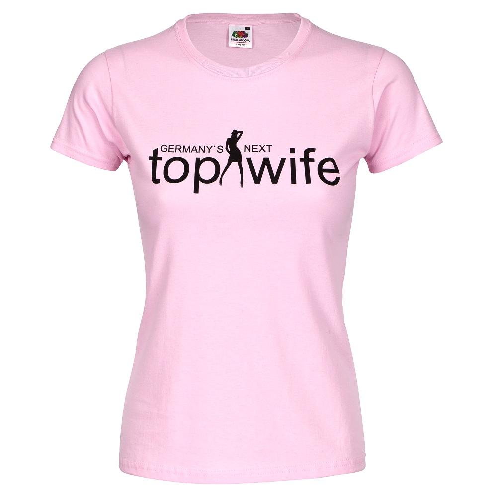 Rosafarbenes Junggesellinnenabschied T-Shirt mit Next Top Wife-Logo