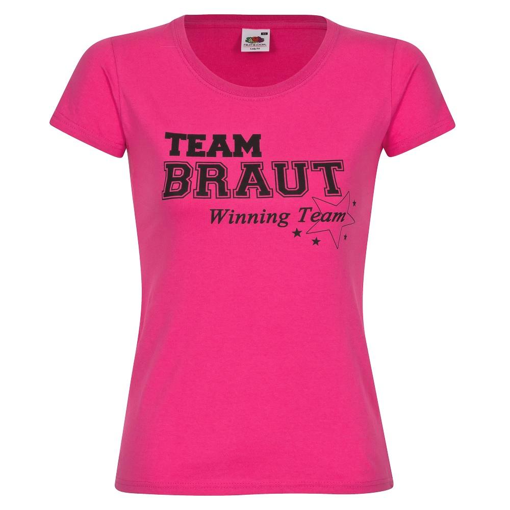 Pinkes Junggesellinnenabschied-T-Shirt mit Team Braut-Motiv