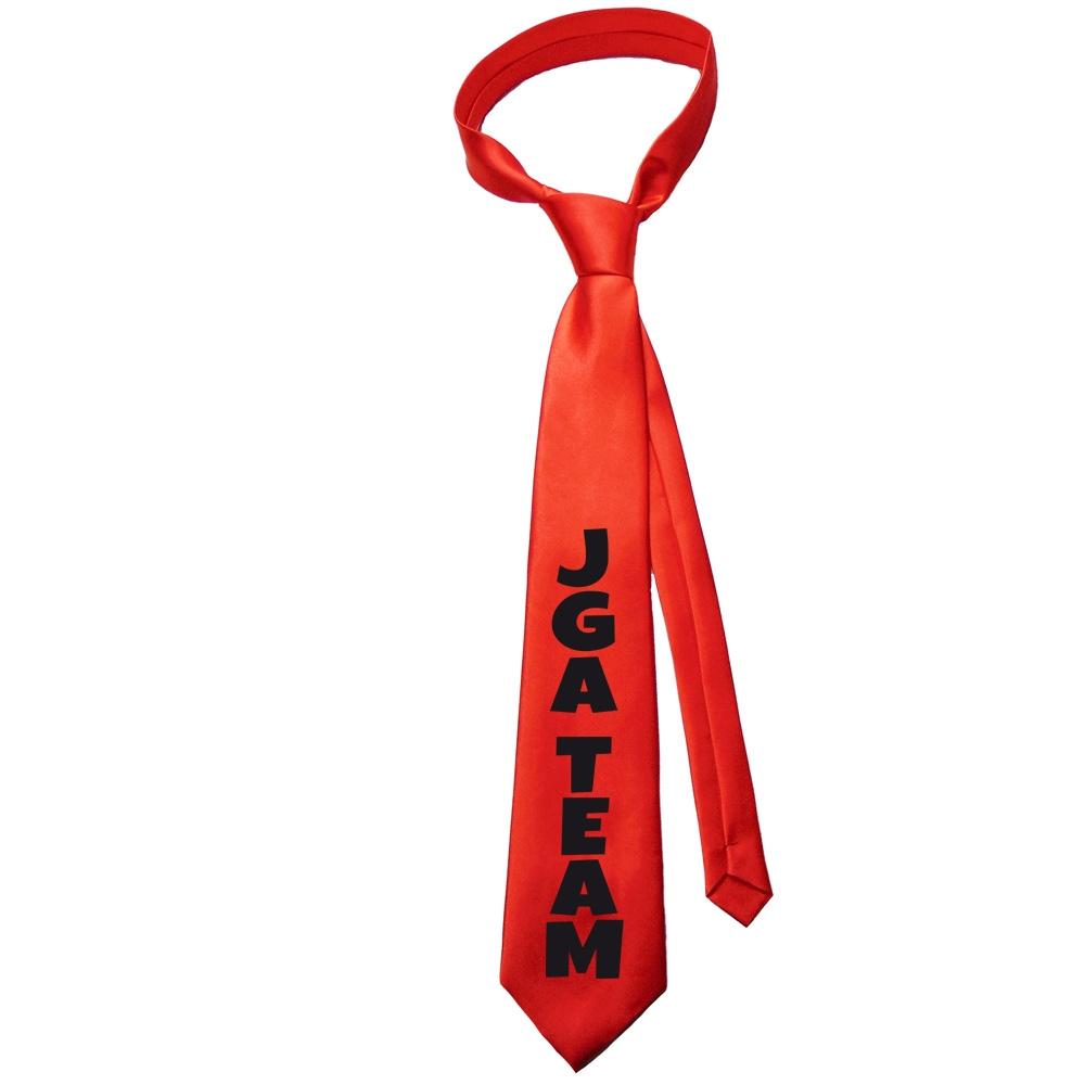 Rote Fun-Krawatte mit JGA Team-Aufdruck