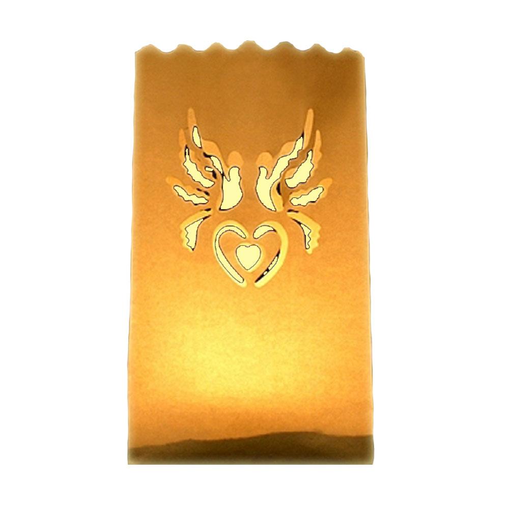 Lichttüte mit Hochzeitstauben-Motiv