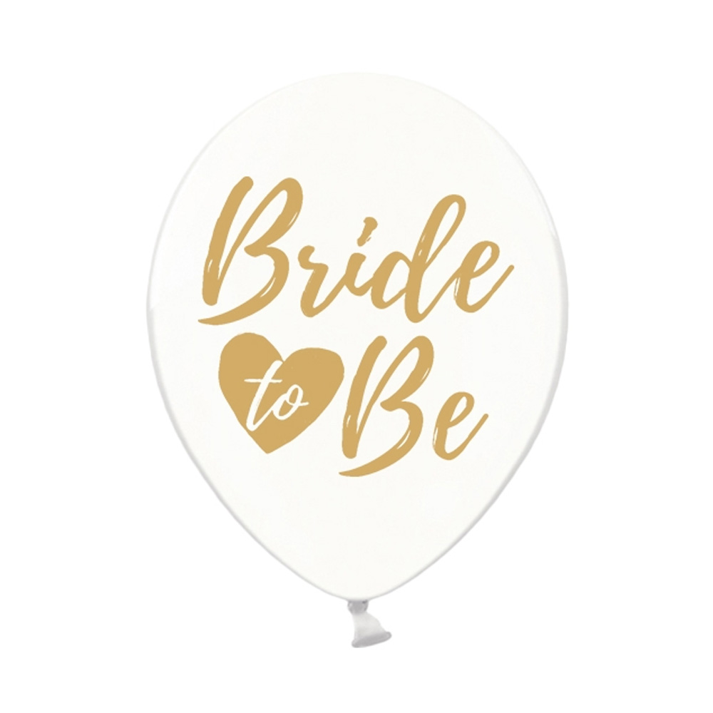 JGA Luftballons mit Bride to be-Aufdruck - Transparent-Gold