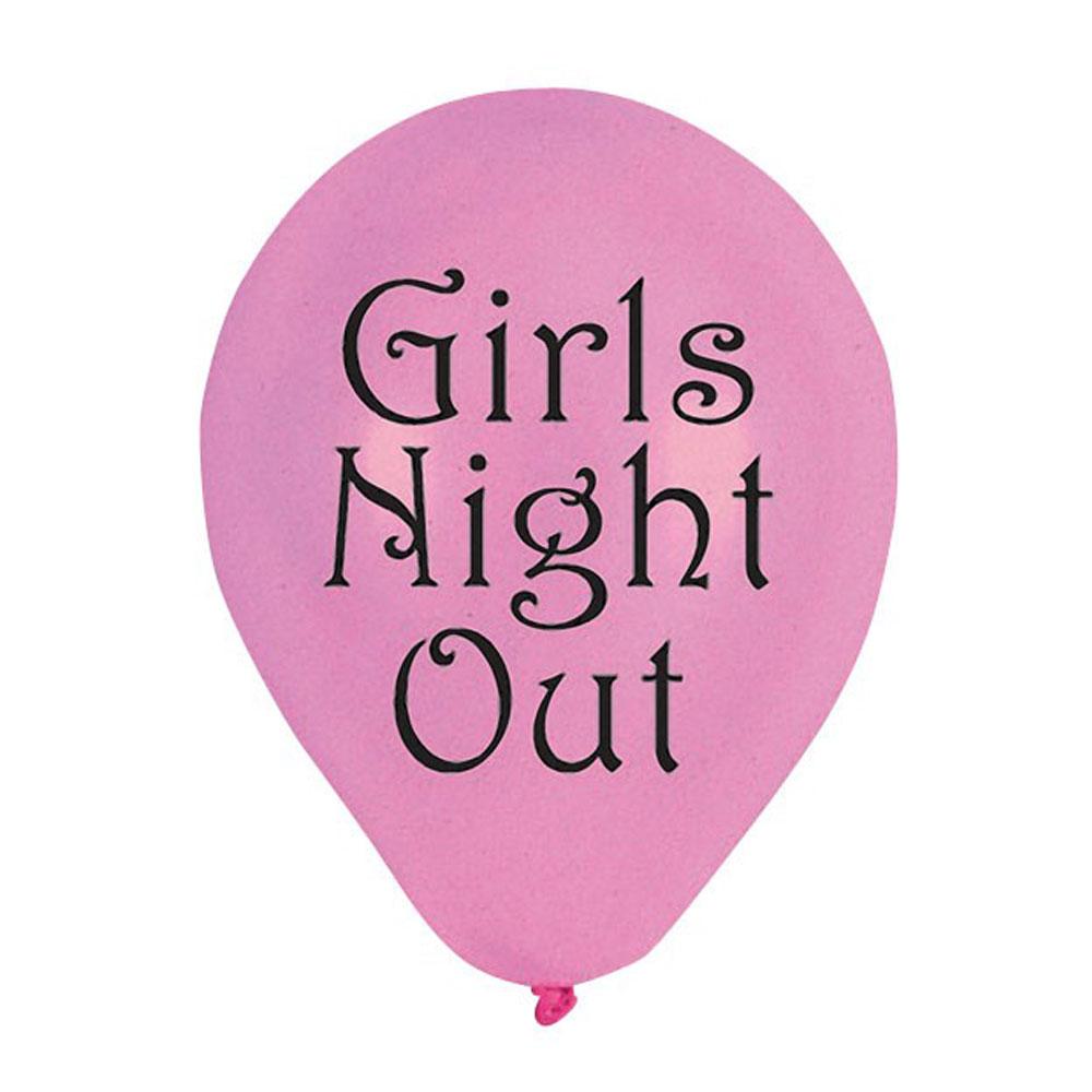 Pinkfarbene Luftballons mit Aufdruck Girls Night Out