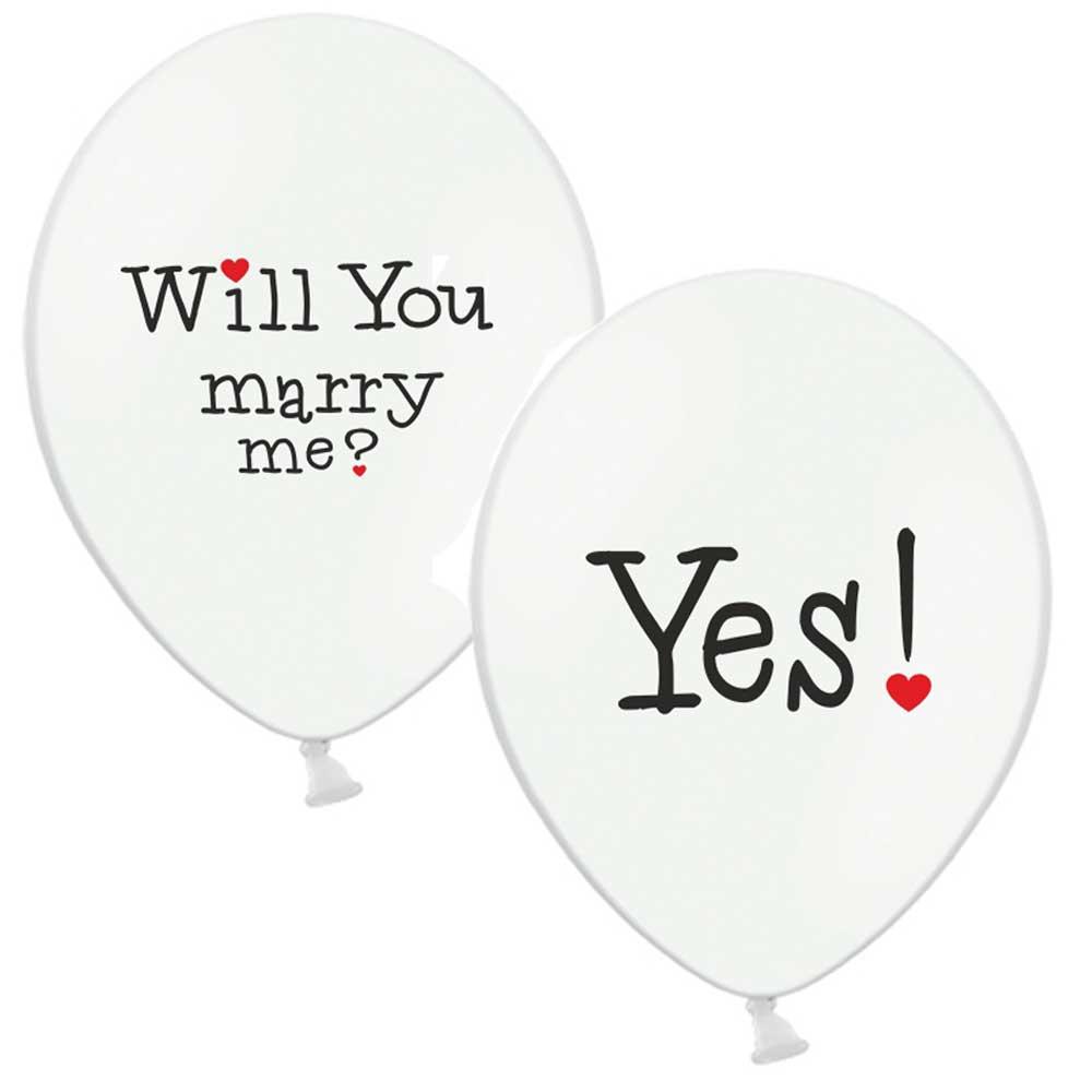 Weiße Luftballons mit Hochzeitsaufdruck