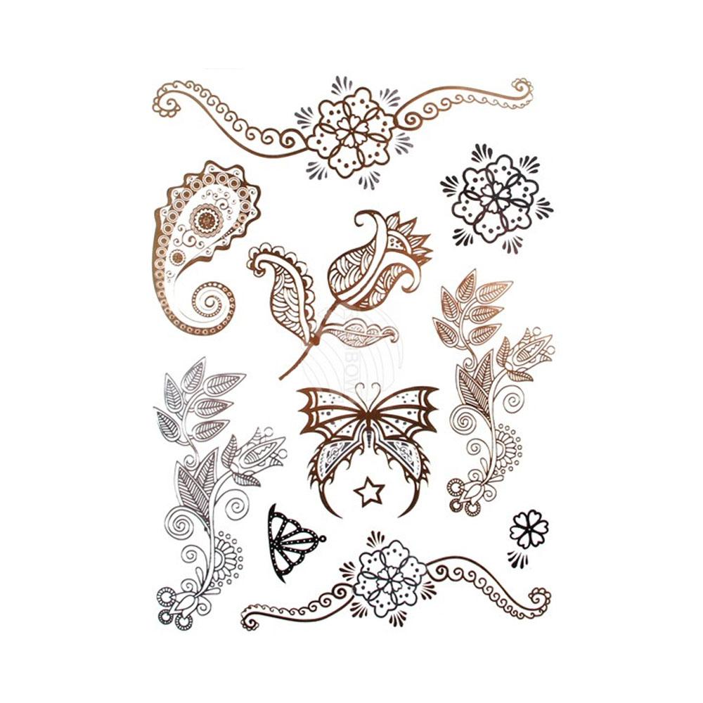 Metallic Tattos in Silber und Gold mit Blumen-Motiven