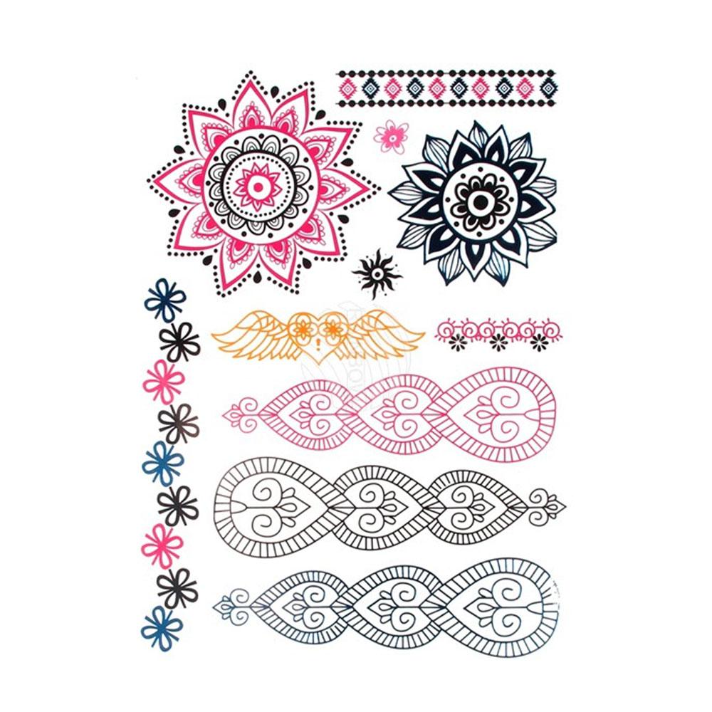 Fake-Tattoos zum Aufkleben in den Farben Pink und Schwarz