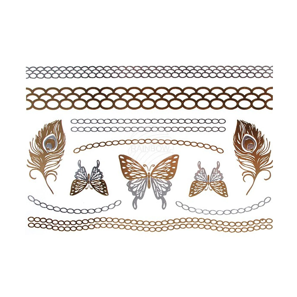 Metallic Tattos in Silber und Gold mit Schmetterling- und Ketten-Motiven