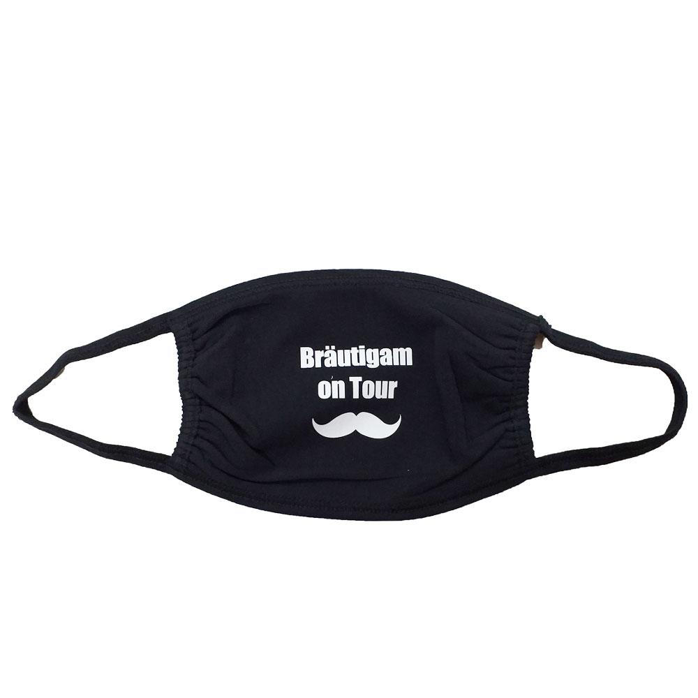Herren-Mund-Nasen-Maske mit Bräutigam-Aufdruck für den Junggesellenabschied
