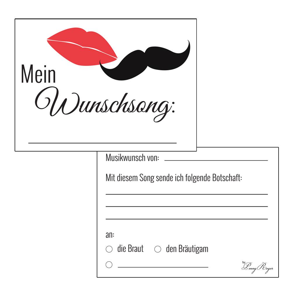 Musikwunschkarten für die Hochzeit mit Kussmund und Schnurrbart