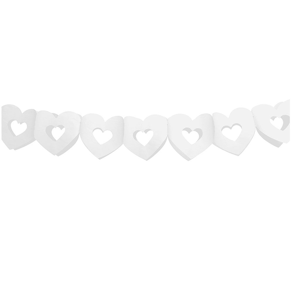 Weisse Herz-Girland aus Papier