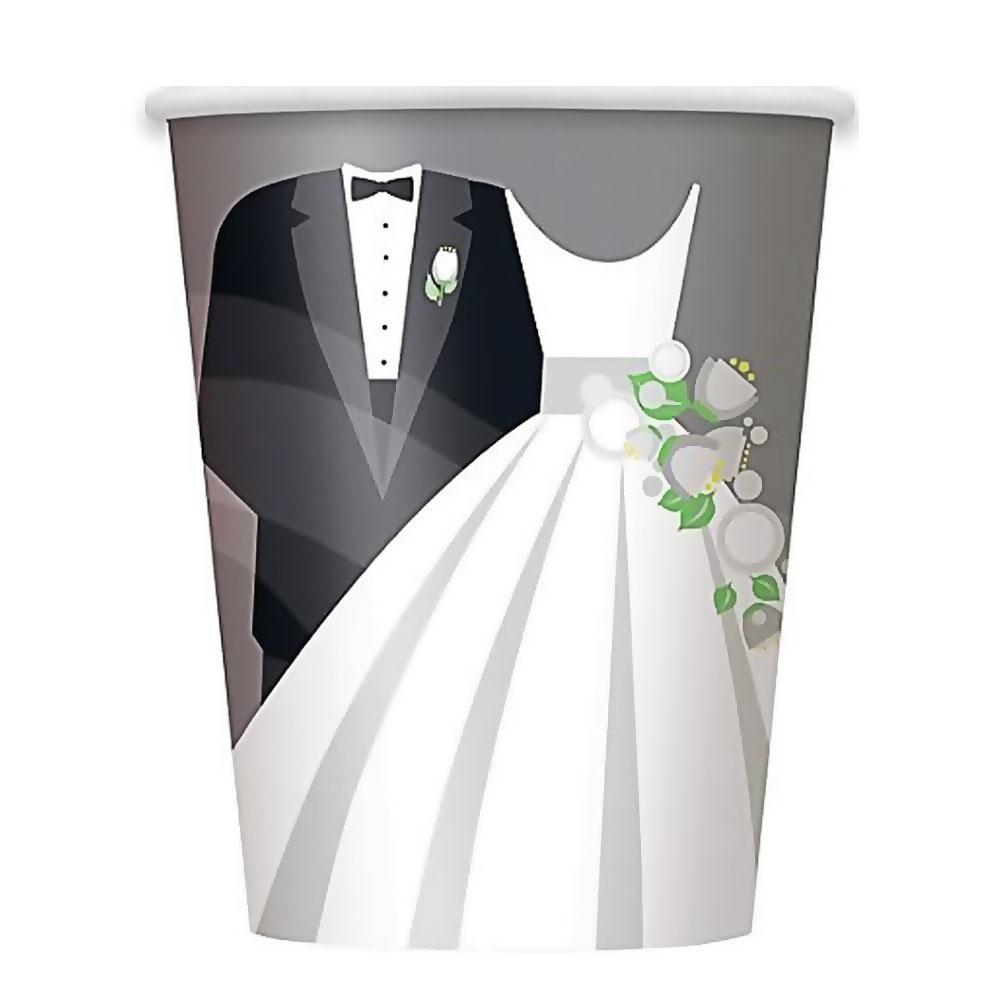 Polterabend - Pappbecher mit Brautpaar-Motiv