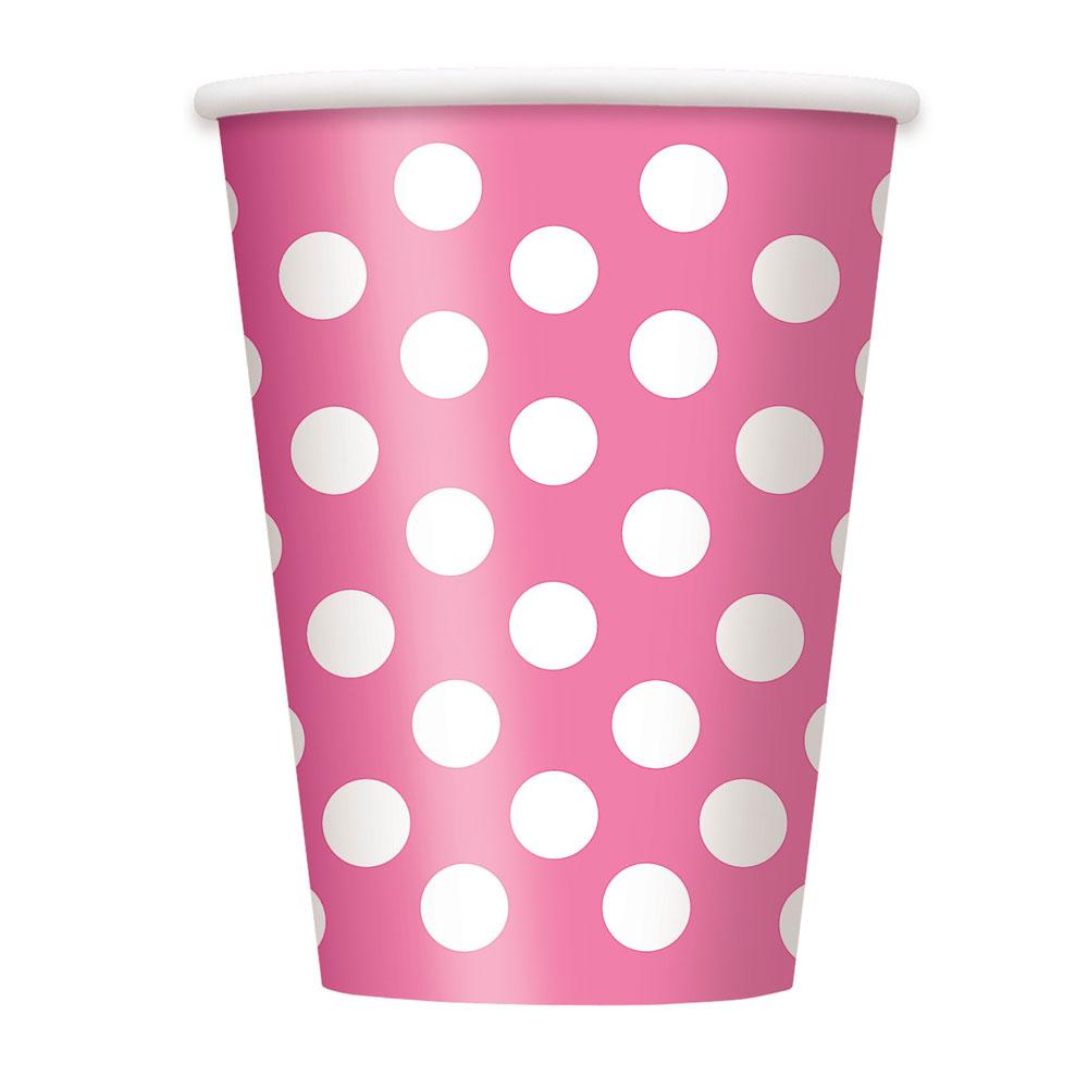 Rosafarbene Pappbecher mit weißen Punkten