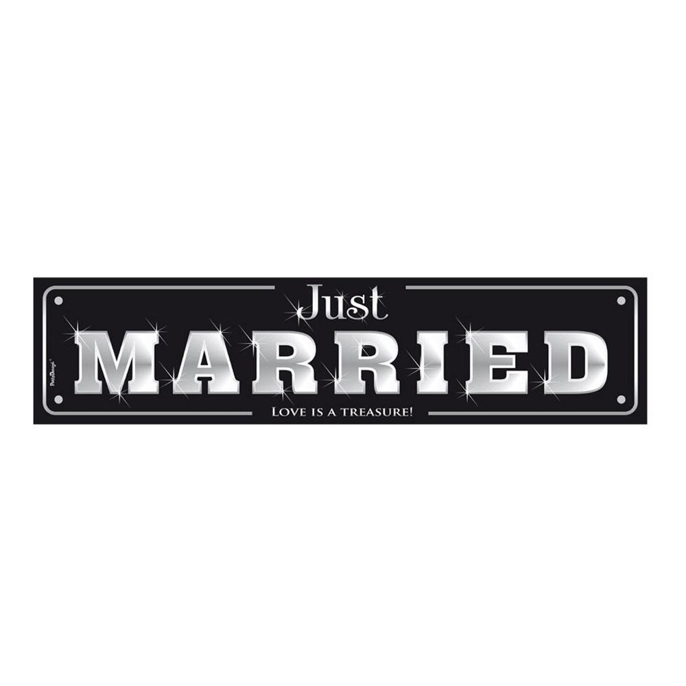 Papp-Nummernschild für Hochzeitsauto in Schwarz
