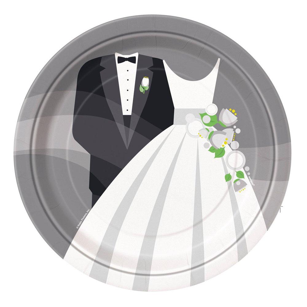 Polterabend - Pappteller mit Brautpaar-Motiv