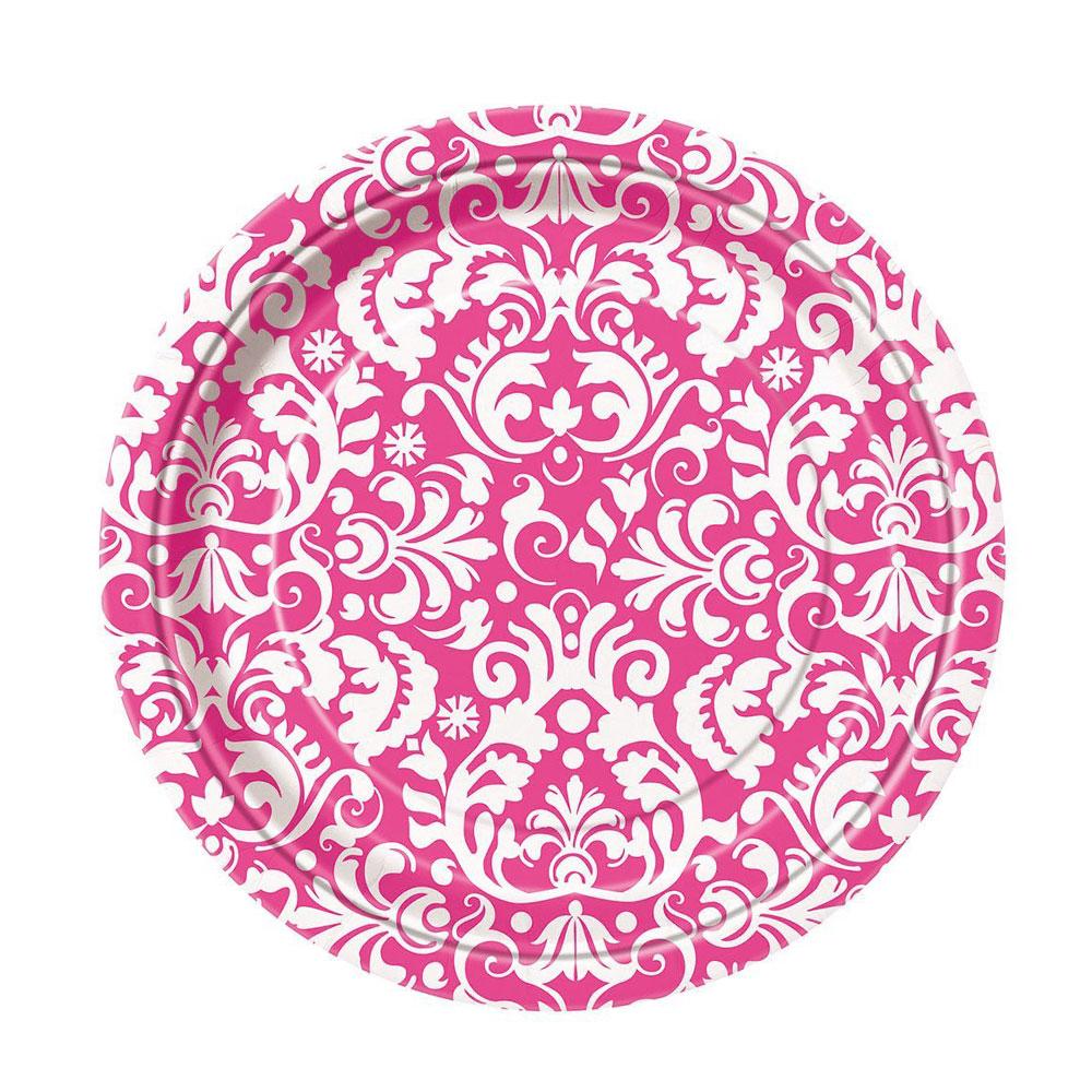 Pinkfarbener Damast-Pappteller für die Bridal Shower