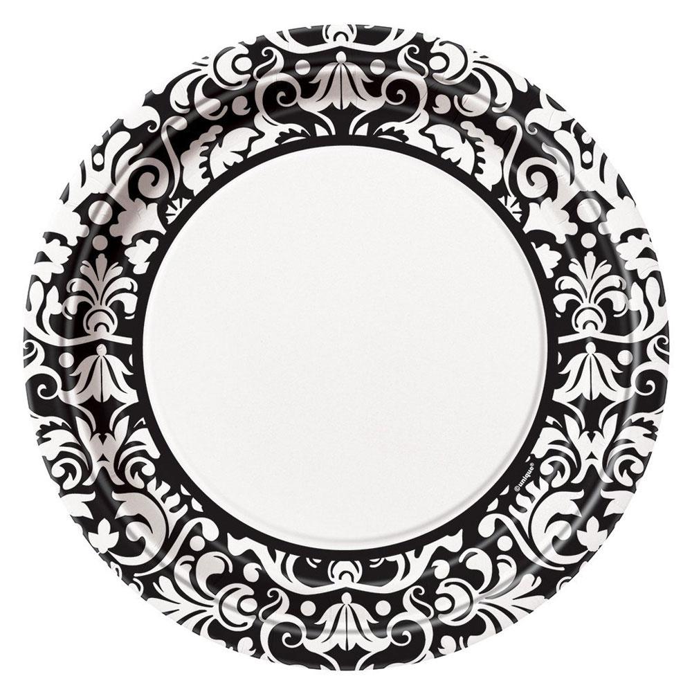 Pappteller mit Damast-Muster in Schwarz und Weiß
