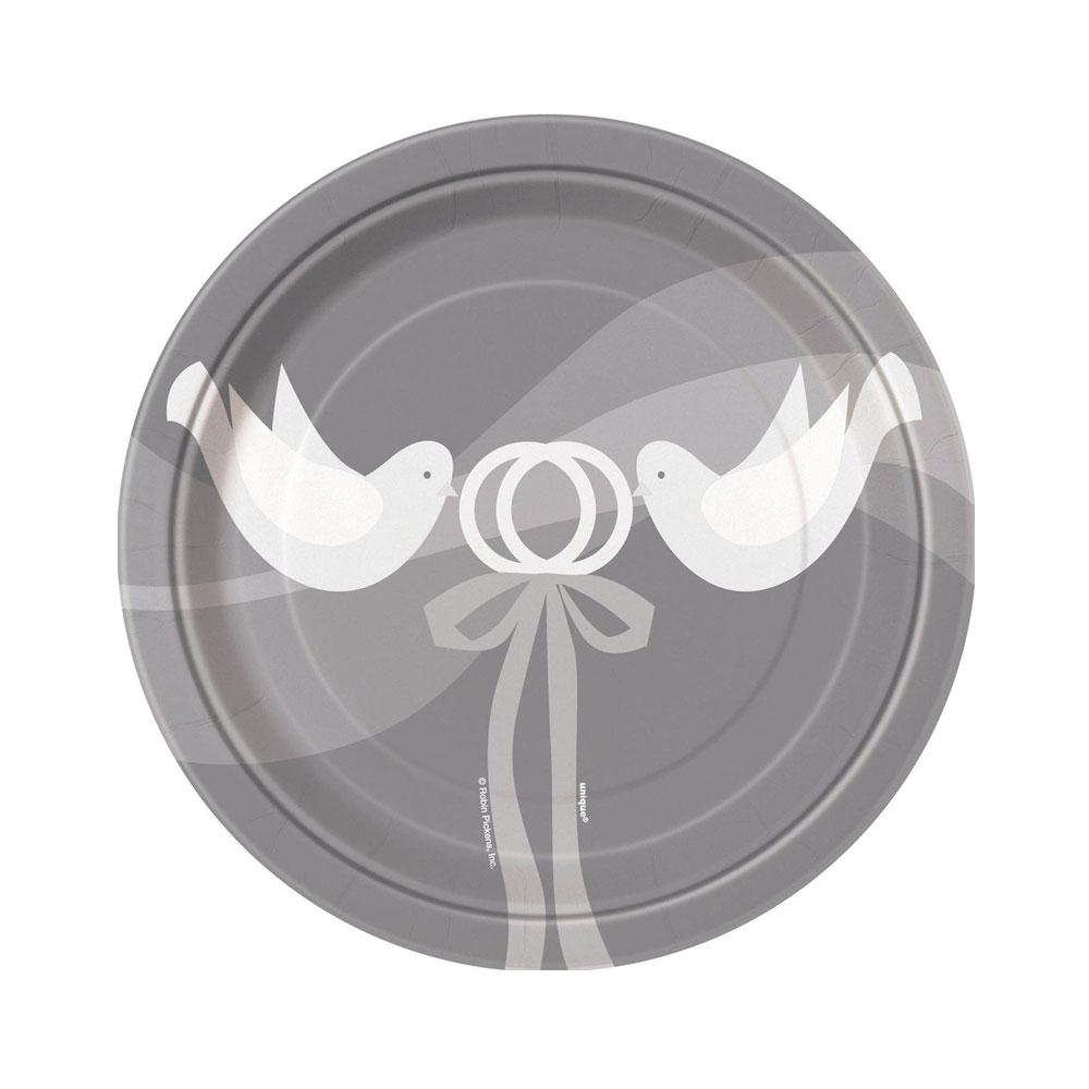 Polterabend-Teller mit Hochzeitstauben-Motiv