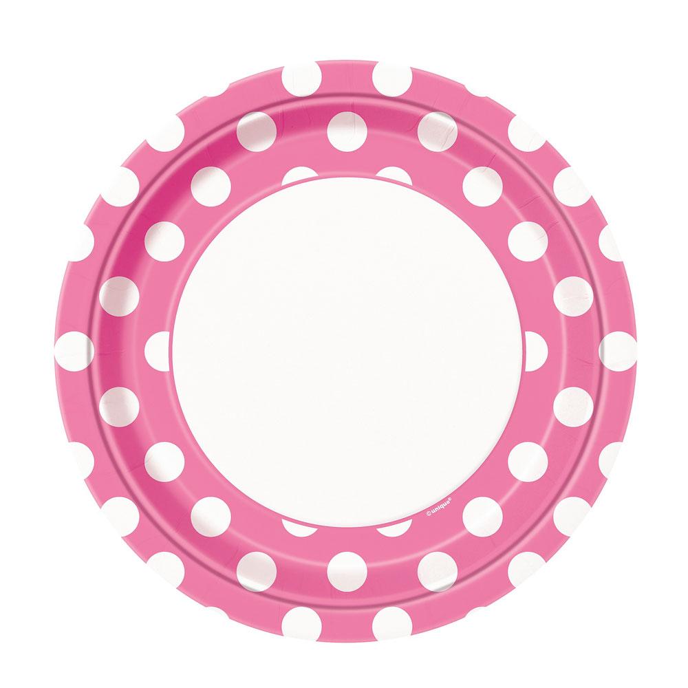 Rosafarbene Pappteller mit weißen Punkten