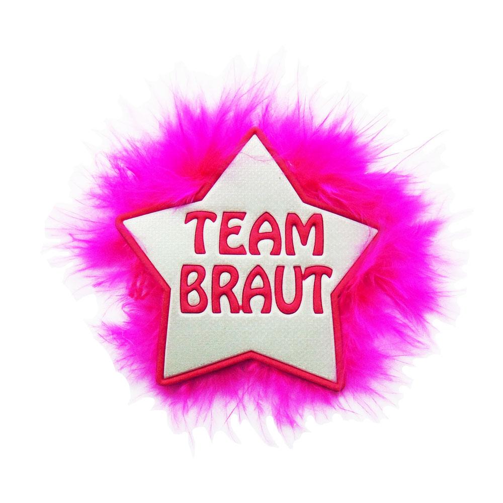 Weißer JGA-Anstecker mit Team Braut Motiv und pinken Federn