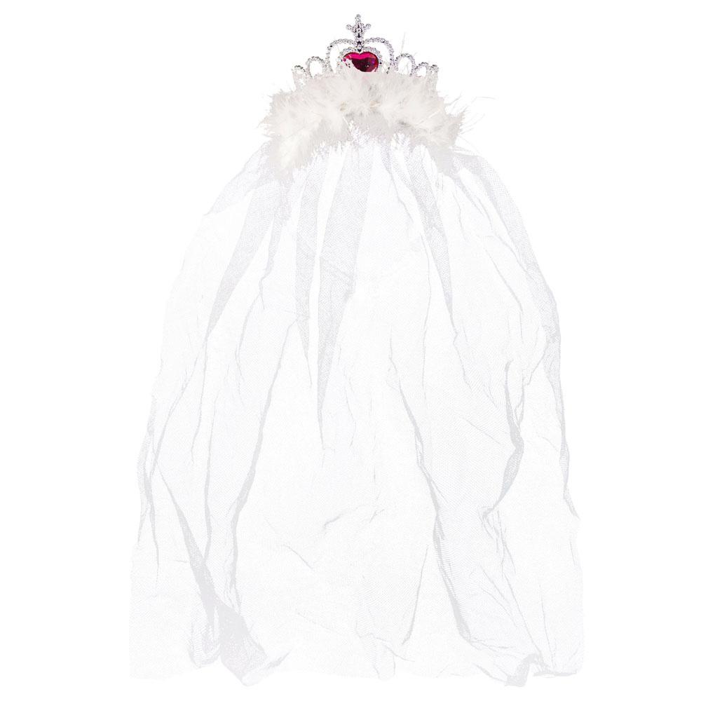 Silberfarbene JGA-Krone mit weißem Braut-Schleier
