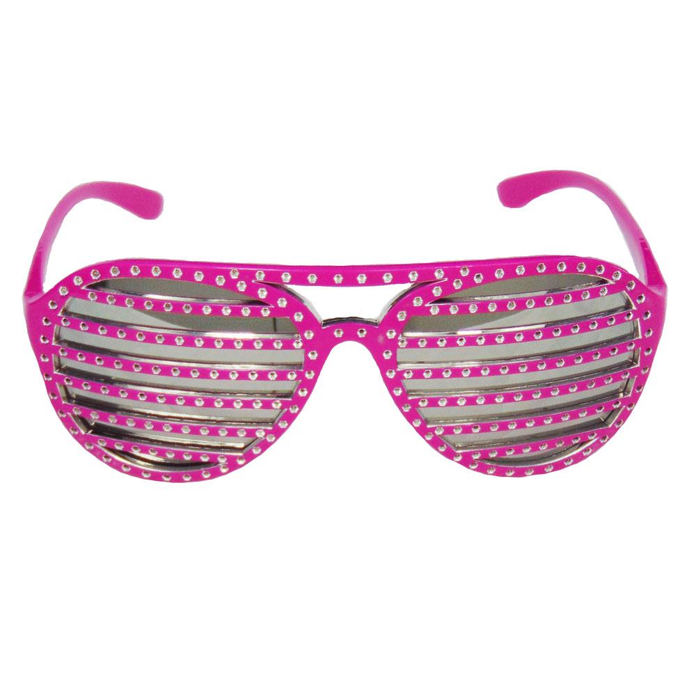 Pinkfarbene Shutter-Brille im Disco-Design