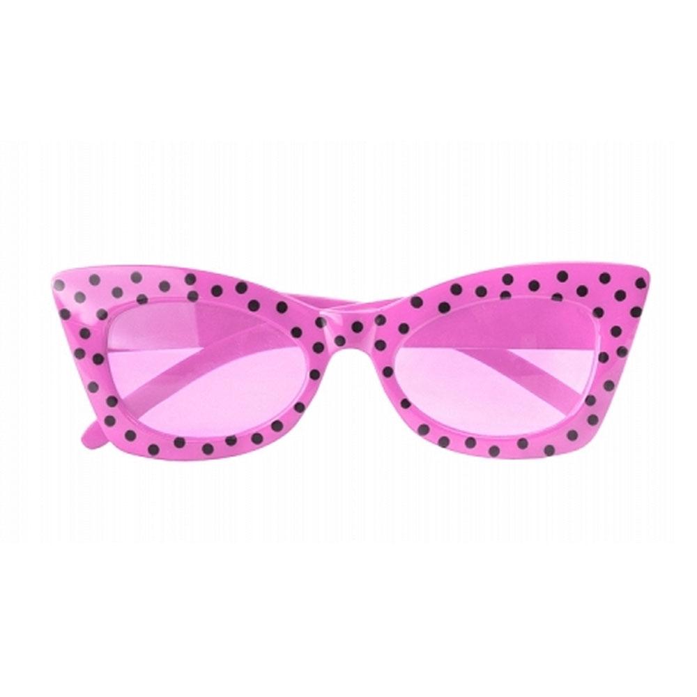 Pinkfarbene Party-Brille mit Polkadots