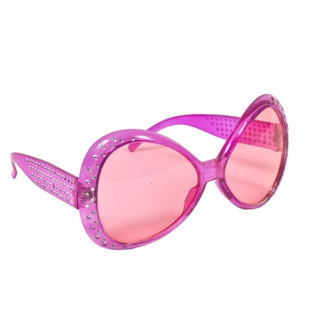 Pinkfarbene Partybrille mit Strasssteinen