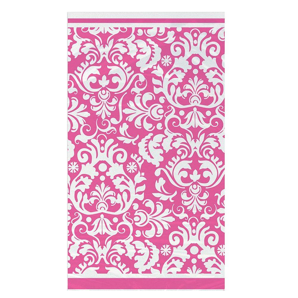 Kunststoff-Tischdecke mit pinkfarbenem Damast-Muster