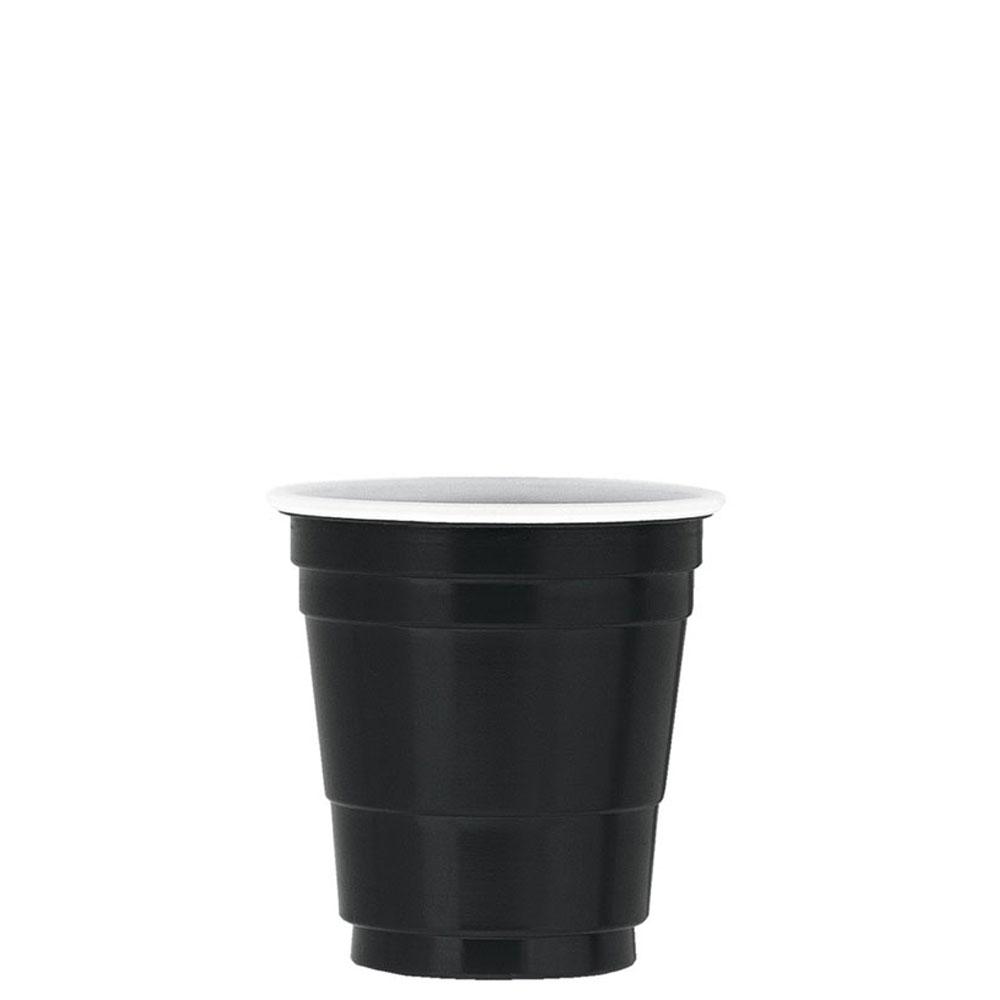 Schwarzes Einweg-Schnapsglas aus Plastik