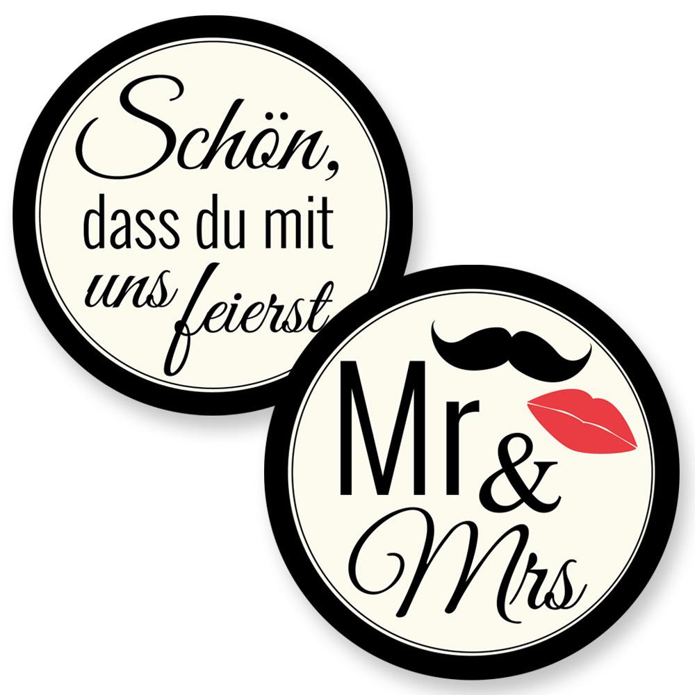Polterabend Deko-Bierdeckel mit MR und MRS Motiv